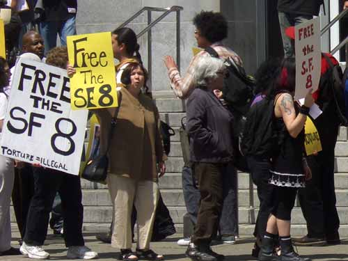 Demonstrators call to free the San Francisco 8