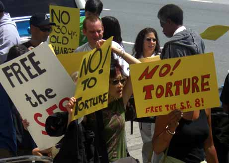 No to torture sign at demonstration
