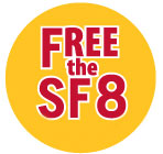 Free the San Francisco 8 button